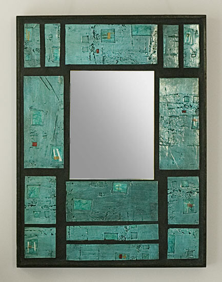 Windows No. 6 - Ceramic & Wood Mirror - by Eileen Young
