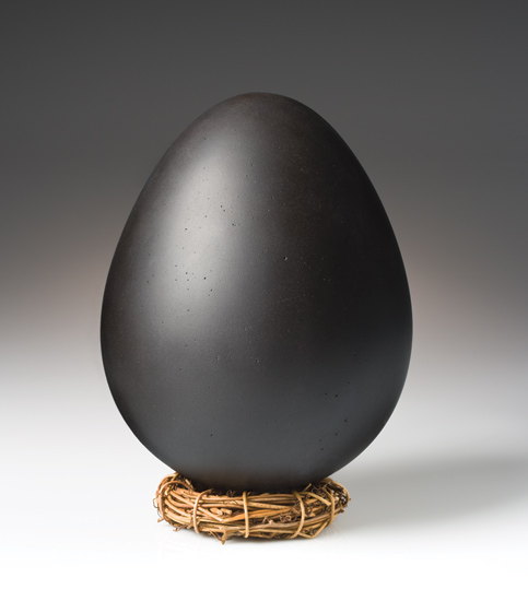Black Dragon Egg - Art Glass Sculpture - by Elodie Holmes