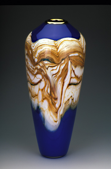 Strata Closed Urn - Art Glass Vase - by Danielle Blade and Stephen Gartner
