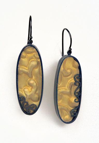 Brocade Oval Earrings - Gold & Silver Earrings - by Natasha Wozniak