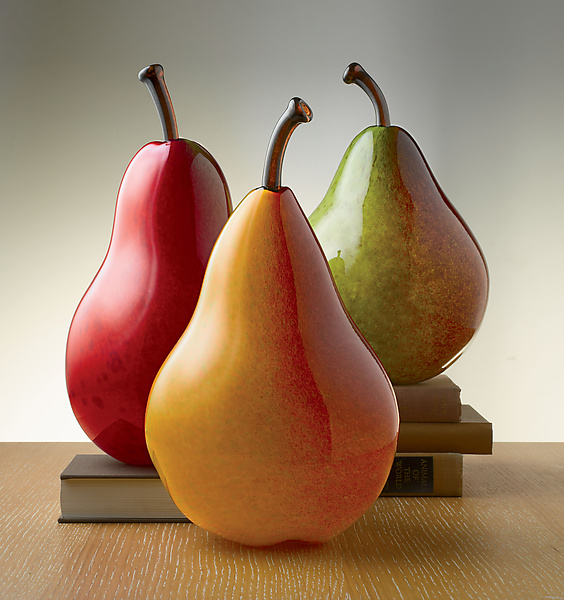 Large Pears - Art Glass Sculpture - by Michael Cohn and Molly Stone