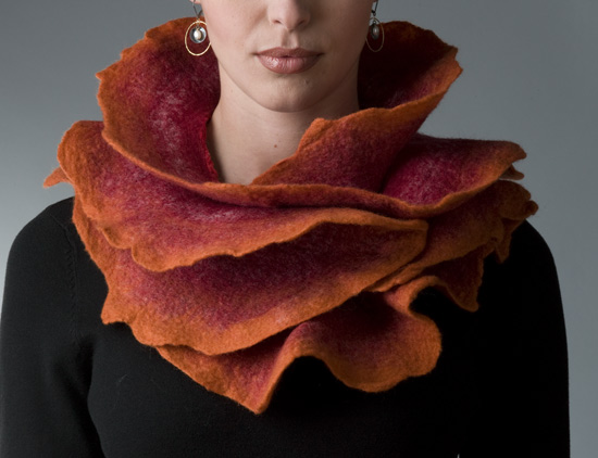 Sunset Rose Scarf - Silk & Wool Scarf - by Jenne Giles