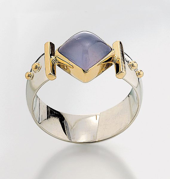 Diagonal Square Ring - Silver, Stone and Gold Ring - by Linda Smith