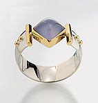 Silver, Stone and Gold Ring by Linda Smith