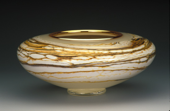Ivory Strata Bowl - Art Glass Vessel - by Danielle Blade and Stephen Gartner