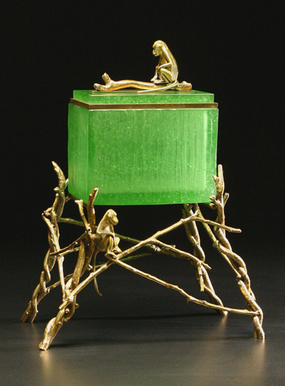 Monkey Box: Green - Art Glass & Bronze Sculpture - by Georgia Pozycinski and Joseph Pozycinski