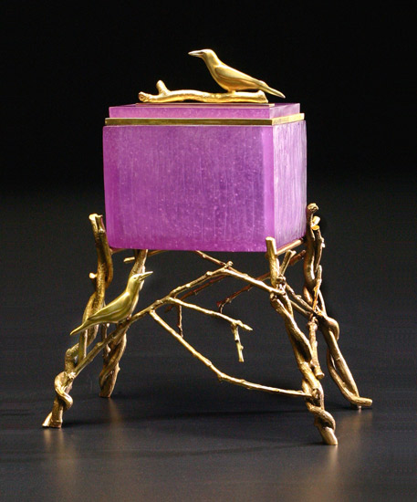Crow Box: Purple - Art Glass & Bronze Sculpture - by Georgia Pozycinski and Joseph Pozycinski