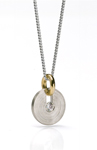 Palladium, Gold, & Stone Pendant by Catherine Iskiw