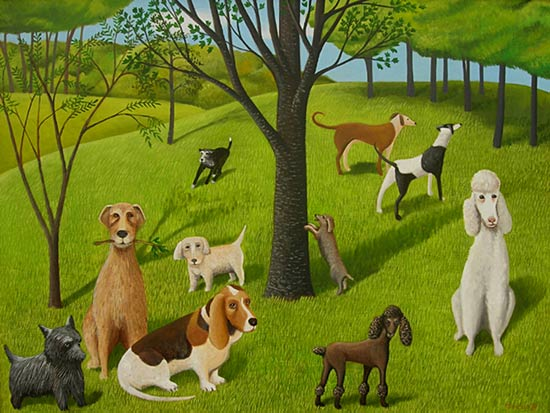 The Dog Park - Giclée Print - by Jane Troup
