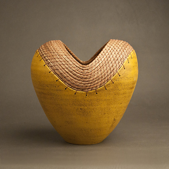 Slit series in Ochre - Ceramic Vessel - by Hannie Goldgewicht