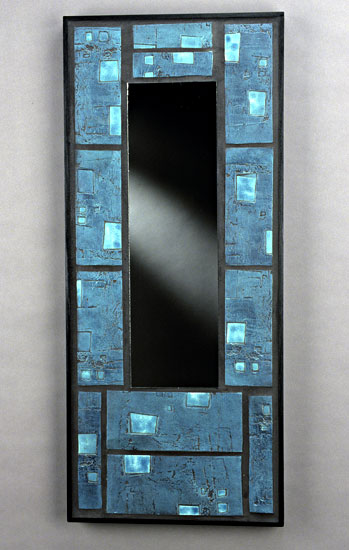 Raku Blue and Turquoise Mirror - Ceramic & Wood Mirror - by Eileen Young