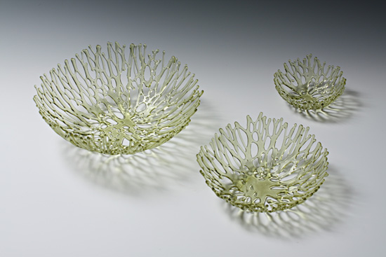 Light Amber Nest - Art Glass Sculpture - by Heather Palmer