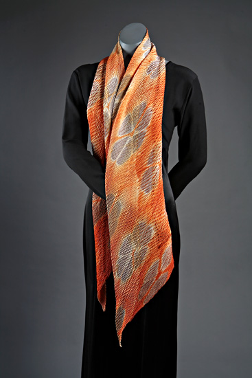Tangerine Flora scarf - Silk Scarf - by Laura Hunter
