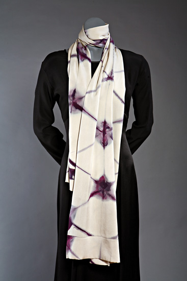 Kaleidoscope Wrap in Putty and Aubergine - Silk Scarf - by Laura Hunter