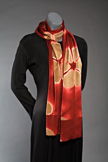 Flora Wrap in Camel and Tuscan Red - Silk Scarf - by Laura Hunter
