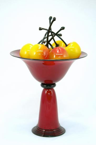 Red Pedestal Bowl with Rainier Cherries - Art Glass Sculpture - by Donald Carlson