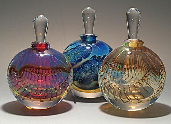 Silver Perfume Bottles - Art Glass Perfume Bottles - by Robert Burch