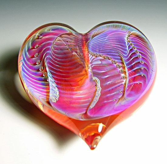 Orange Silver Heart Paperweight - Art Glass Paperweight - by Robert Burch