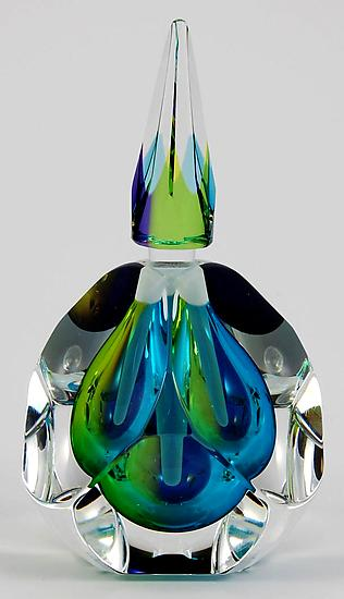 Pacific Perfume Bottle - Art Glass Perfume Bottle - by Paul D. Harrie