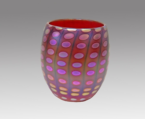 Opal Red Nutty Bowl - Art Glass Bowl - by Thomas Philabaum