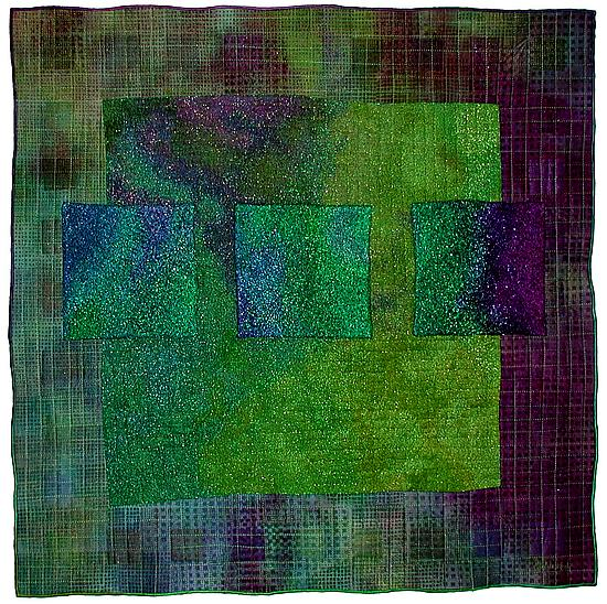 Colorfields: Emerald - Fiber Quilts - by Michele Hardy