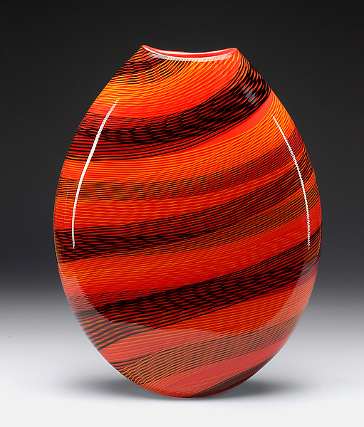 Color Weave Oval Vase - Art Glass Vase - by brian becher