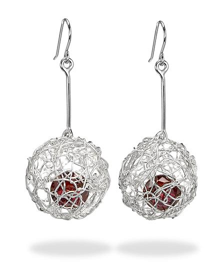 Woven Drop Ball Earrings - Silver & Stone Earrings - by Gillian Batcher