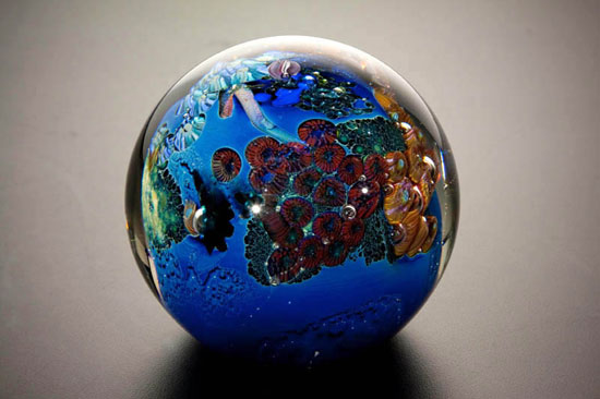 3 Inhabited Megaplanet - Art Glass Paperweight - by Josh Simpson