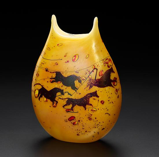 Small Horse Petroglyph - Art Glass Vase - by John & Heather Fields