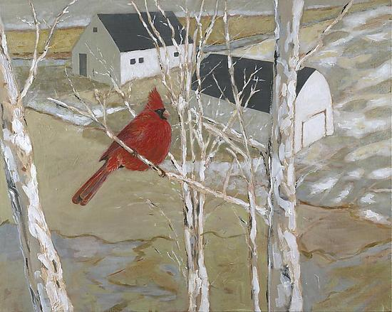 Cardinal and Barns - Giclee Print - by Robert Ferrucci