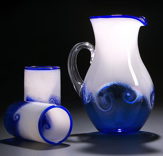 Wave Pitcher & Cups - Art Glass Pitcher and Cups - by Justin Tarducci, Michael Richardson and Tim Underwood