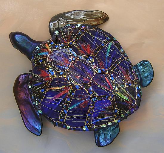 Life-Size Sea Turtle - Art Glass Sculpture - by Karen Ehart