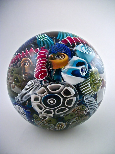 Ocean Reef Paperweight Sphere - Art Glass Paperweight - by Michael Egan