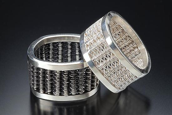 Square Woven Rings - Silver Ring - by Linda Bernasconi