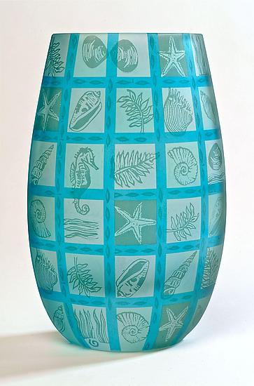 Oval Patchwork Seashell - Art Glass Vase - by Penelope Wurr