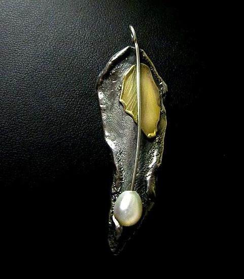 Brooch-pendant - Gold, Silver, & Pearl Brooch - by Sonia Beauchesne
