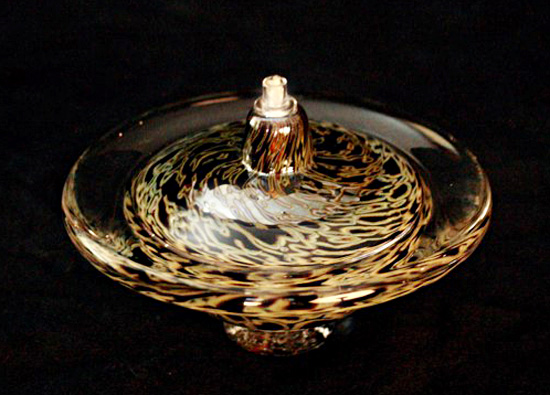 Saturn Oil Light (Opaque Silver Black) - Art Glass Oil Lamp - by Danielle Blade and Stephen Gartner