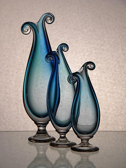 Blue Curly Vases - Art Glass Vase - by Tara Marsh