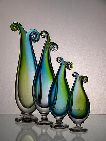 Turquoise and Green Curly Vases - Art Glass Vase - by Tara Marsh