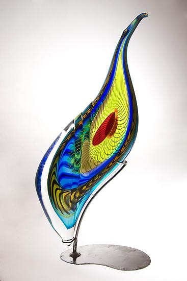 Peacock Sculpture - Art Glass Sculpture - by Mike Wallace