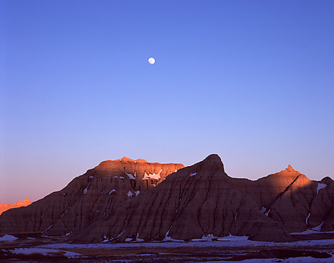 Moonrise Over Badlands - Color Photograph - by Michael McAreavy