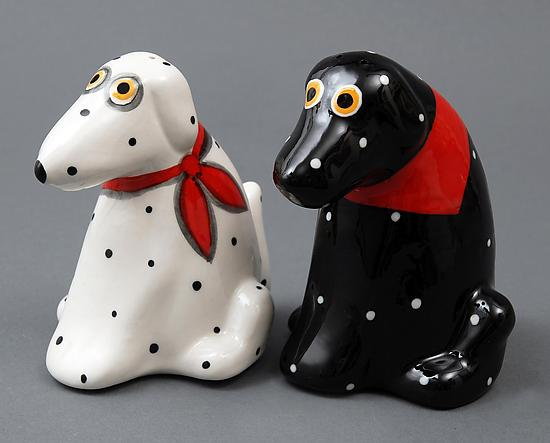 Spotted Dog Salt & Pepper Shakers - Ceramic Salt and Pepper Shakers - by Alison Palmer
