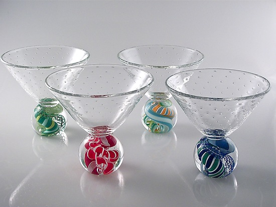 Marbletini - Art Glass Goblet - by Michael Egan