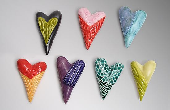 Hearts - Ceramic Wall Art - by Marilee Hall