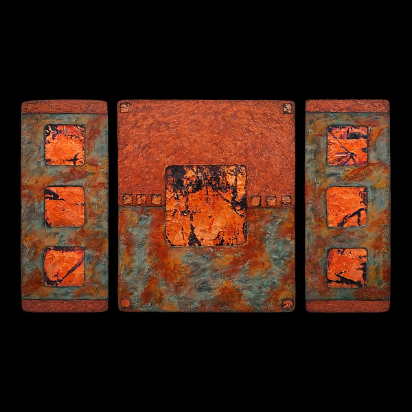 Earth and Fire Triptych L Sage - Fiber Wall Art - by Kara Young