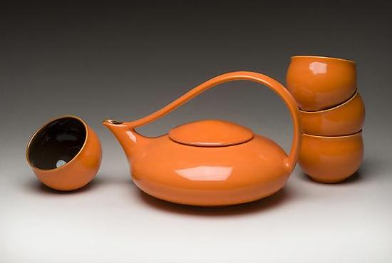 Mandarin Orange Classic Tea - Ceramic Teapot & Cups - by Judith Weber