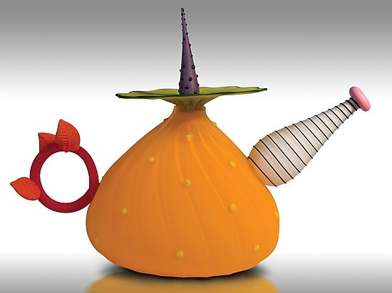Garden Variety Teapot in Mango - Art Glass Teapot - by Bob Kliss and Laurie Kliss