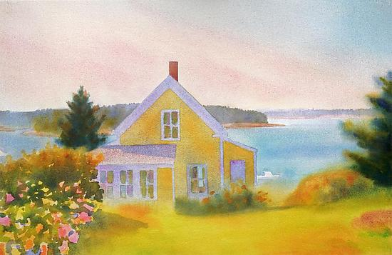 Yellow House, Summer Afternoon - Pigment Print - by Suzanne Siegel