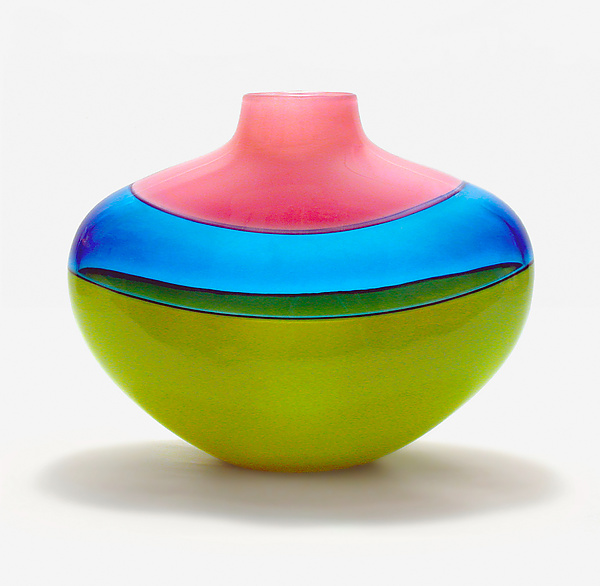 Flat Banded Vase: Raspberry, Blue, Lime - Art Glass Vessel - by Michael Trimpol