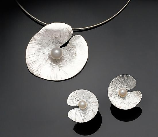 Floating Lily Earrings & Pendant - Silver & Pearl Jewelry - by Chi Cheng Lee